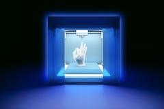 Impressora plástica tridimensional eletrônica, 3D impressora, impressão 3D Imagens de Stock Royalty Free