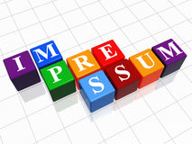 Impressum in color cubes royalty free stock photo