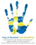 Impressum der linken Hand in den Farben der schwedischen Flagge Lizenzfreie Stockfotos