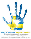 Impressum der rechter Hand in den Farben der schwedischen Flagge, Isolat Stockfotos