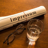 Impressum, glass water, glasses Royalty Free Stock Photo