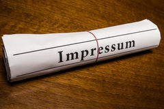Impressum newspaper (german) Stock Photo