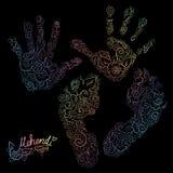 Impressum von Palmen und Füßen der Kind s Mehendi-Satz Lizenzfreies Stockbild
