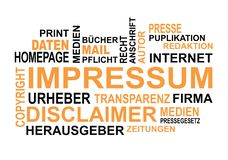 Impressum Wordcloud lizenzfreie stockfotos