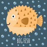 Imprima com um peixe bonito e os peixes grandes do texto Imagem de Stock Royalty Free