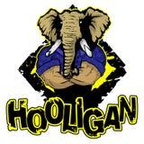 Imprima en el ` del gamberro del ` de la camiseta con la imagen de un elefante stock de ilustración