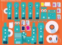 Imprimant et convertissant la machine illustration de vecteur