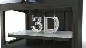 Imprimant les lettres volumétriques blanches avec une imprimante 3D, rendu 3D Photos stock