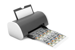 Imprimante à la maison de bureau Printed Money rendu 3d Photographie stock