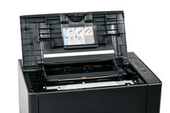 Imprimante à laser avec la couverture ouverte photo stock
