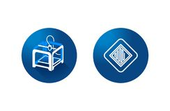 imprimante 3D et icône de l'impression 3d sur le fond bleu vecteur de symbole photo stock