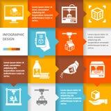 Imprimante 3d infographic Image libre de droits