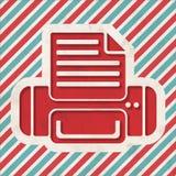 Imprimante Icon sur le fond rayé. Image stock