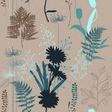 Imprime des silhouettes de modèle sans couture de camomilles de pré Image tirée par la main abstraite illustration stock