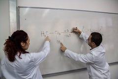 Imprimen a los doctores jovenes algunos elementos químicos en un verraco blanco imagenes de archivo