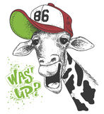 Imprimez avec des images de girafe et textotez, effet grunge, conception de T-shirt Images stock