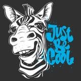 Imprimez avec des images de zèbre et textotez, conception de T-shirt illustration libre de droits
