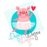 Imprimez, conception de T-shirt avec la danse douce de porcelet et la danse d'inscription Porc dans une jupe de ballet Illustrati Photos stock