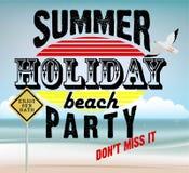 Imprimez l'affiche ou l'insecte avec le fond ou l'illustration de plage Image stock