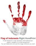 Imprimez le bras droit en couleurs de drapeau national de l'Indonésie Handprint redressent la paume dans la couleur rouge et blan Photo stock