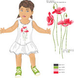 Imprimez les pavots et la fille rouges de modèle dans le bain de soleil Image stock