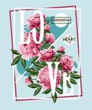 Imprimez pour le T-shirt ou l'affiche avec les pivoines roses et le slogan Illustration sensible de mode illustration de vecteur