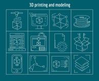 Imprimiendo y modelando el sistema del vector de iconos lineares Fotos de archivo