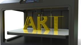 Imprimindo a ARTE dourada text com 3D uma impressora, metal que imprime a rendição 3D Foto de Stock Royalty Free