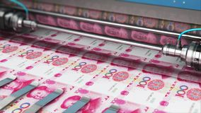 Imprimindo 100 cédulas chinesas do dinheiro do yuan ilustração royalty free