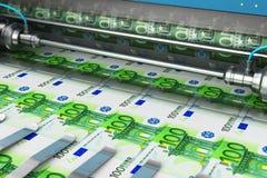 Imprimindo 100 cédulas do dinheiro do Euro ilustração royalty free