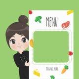 Imprimindo a menina bonito do cozinheiro chefe do menu ilustração stock