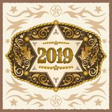 2019 year western cowboy belt buckle with sheriff badge vector design royalty free illustration