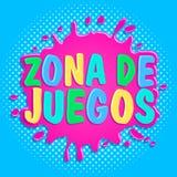 Zona de juegos, Games Zone spanish text, vector sign illustration. vector illustration