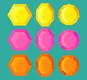 Set 9 colored gems, vector, yellow, pink, and orange, jpg, image, eps. Graphic resource, magic geometric crystal royalty free illustration