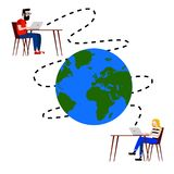 Illustration of two people communicating by internet in the distance around the world. You can use this illustration to represent any concept about Internet stock illustration