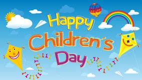 Happy Children`s Day greeting card. Letters floating in the sky surrounded by smiling kites, clouds, rainbows, aerostat balloon vector illustration