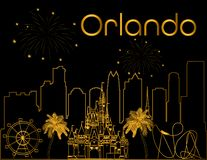Orlando gold lettering on black backround .  Vector with skyscraper , travel icons and fireworks.  Travel Postcard. Travel Postcard. Orlando gold lettering on vector illustration