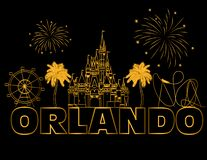 Orlando gold lettering on black backround .  Vector with travel icons and fireworks. Travel Postcard. Travel Postcard. Orlando gold lettering on black backround royalty free illustration