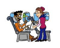 Indian man inside an airplane and ordering coffee. royalty free illustration