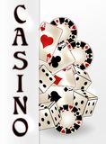 Casino banner with poker cards, vector. Illustration stock illustration