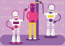 Artificial intelligence detects our activity in the Internet and creates the image of who we are and what we like. Two robots are measuring a man, classifying royalty free illustration