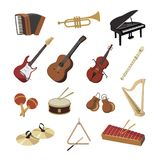 Collection of musical instruments.