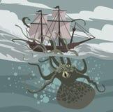 Sea octopus monster kraken attacking a ship
