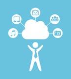 Imprimir. Cloud computing over blue background vector illustration Stock Images