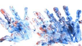 Imprint of children`s hand with gouache vector illustration