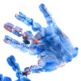 Imprint of children`s hand with gouache Royalty Free Stock Image