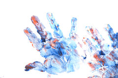 Imprint of children`s hand with gouache Stock Image