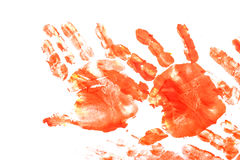 Imprint of children`s hand with gouache Stock Photos