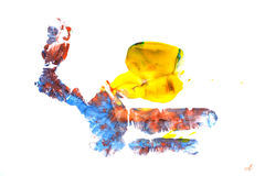 Imprint of children`s hand with gouache royalty free illustration