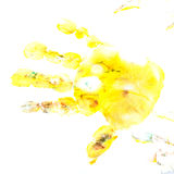 Imprint of children`s hand with gouache Royalty Free Stock Photography
